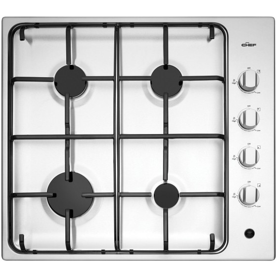 Chef 60cm Stainless Steel Gas Cooktop CHG642SB
