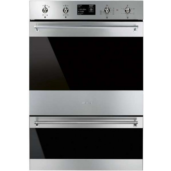 Smeg 60cm 120L Classic Double Pyrolytic Electric Wall Oven DOSPA6395X