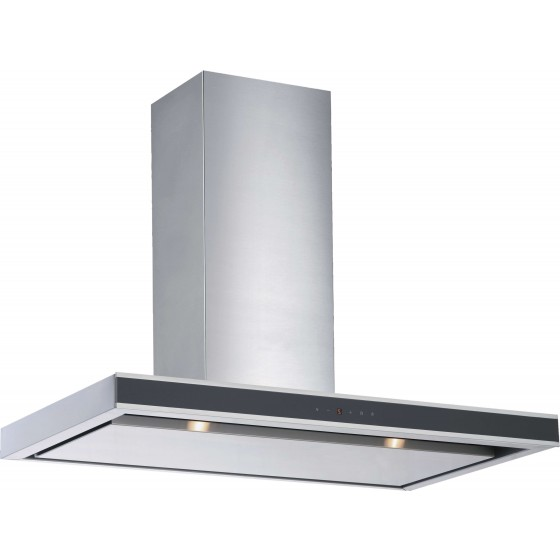 Schweigen 90cm Single 650m3/hr S/S Black Glass Canopy Rangehood DS3326-9S1
