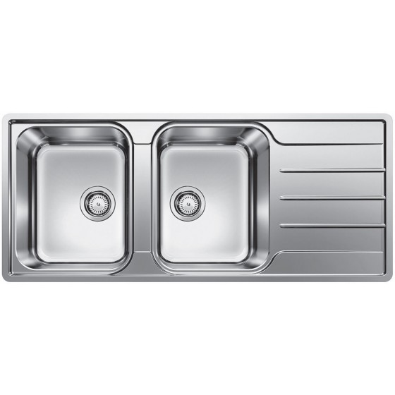 Blanco Double Left Hand Bowl Inset/Flushmount Sink With Drainer LEMIS8SLIFK5