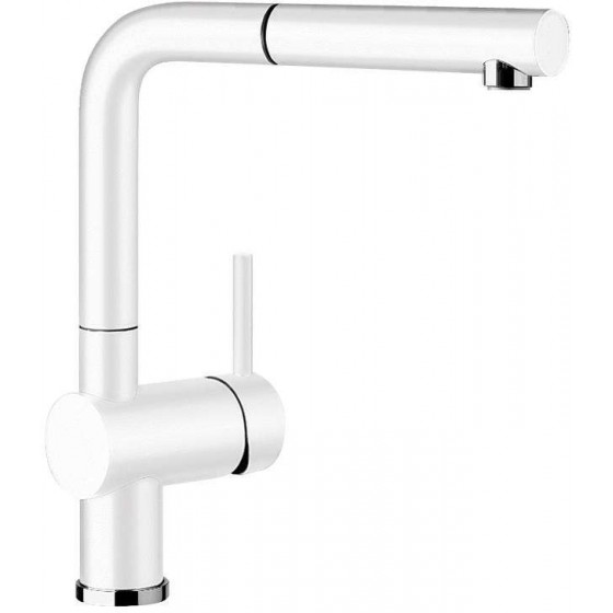 Blanco White 140° Swivel Spout Pull Out Mixer Tap LINUSSW