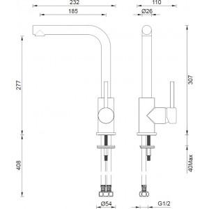 Abey Gareth Ashton Gold Lucia Sidelever Mixer Tap 3K2-BB
