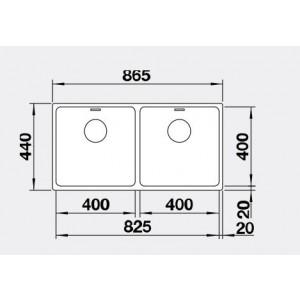 Blanco Double Bowl Undermount Sink With Overflow ANDANO400/400UK5