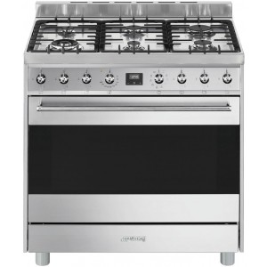 Smeg 90cm 126L Dual Fuel Thermoseal Freestanding Oven/Stove CS9GMXA