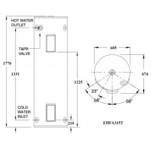 Rinnai HotFlo 315L 3.6kW Hardwired Electric Hot Water Storage Tank EHFA315T36