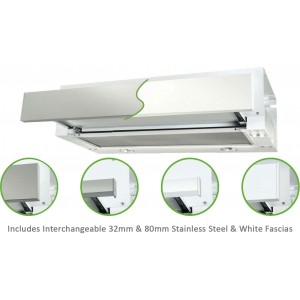 Robinhood 60cm Stainless Steel or White Slideout Rangehood RO61SS/WH/80