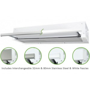 Robinhood 90cm Stainless Steel or White Slideout Rangehood RO91SS/WH/80