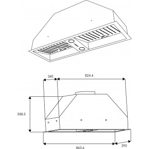 Schweigen 90cm Single 650m3/hr Undermount Rangehood UM-9S1